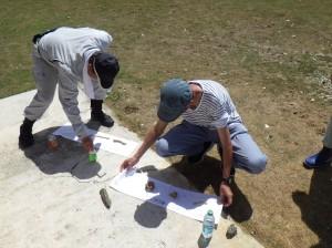 現地ダイバーが収容した遺骨を確認する団員