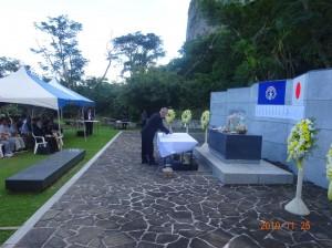 「中部太平洋戦没者の碑」前で全戦没者追悼式を挙行=サイパン島で